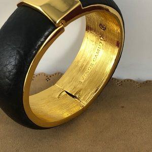 Vince Camuto Jewelry - Vince Camuto Leather Covered Gold Tone Bangle